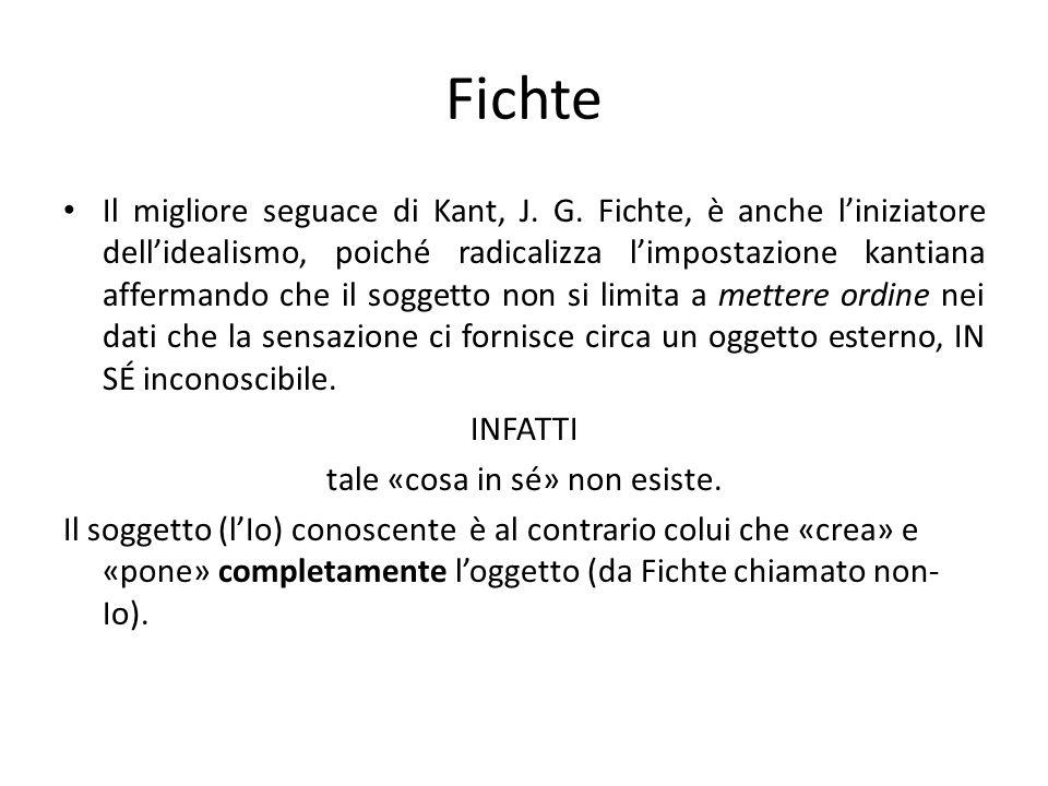 Fichte Il migliore seguace di Kant, J. G. Fichte, è anche liniziatore dellidealismo, poiché radicalizza limpostazione kantiana affermando che il sogge