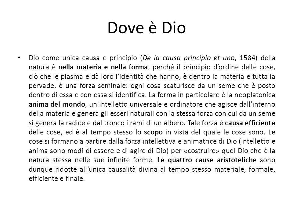 Dove è Dio Dio come unica causa e principio (De la causa principio et uno, 1584) della natura è nella materia e nella forma, perché il principio dordi