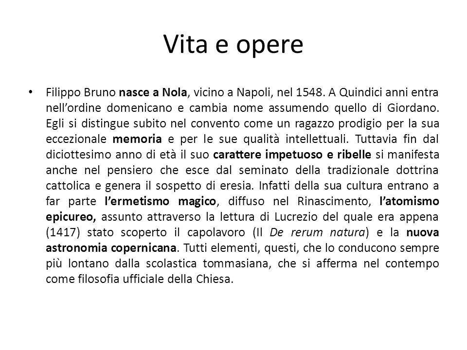 Vita e opere Filippo Bruno nasce a Nola, vicino a Napoli, nel 1548. A Quindici anni entra nellordine domenicano e cambia nome assumendo quello di Gior