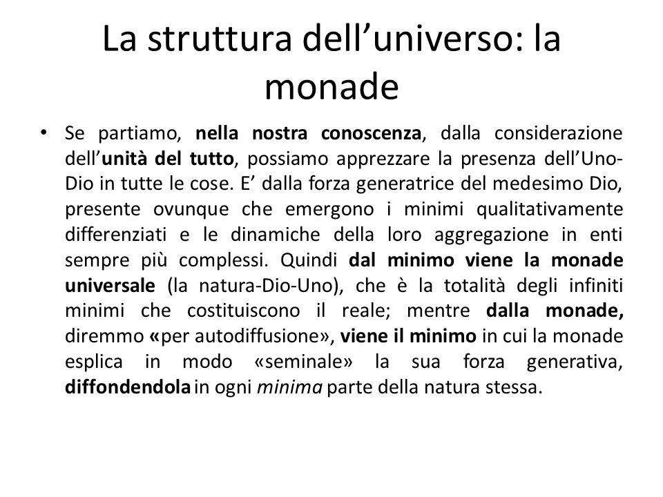 La struttura delluniverso: la monade Se partiamo, nella nostra conoscenza, dalla considerazione dellunità del tutto, possiamo apprezzare la presenza d