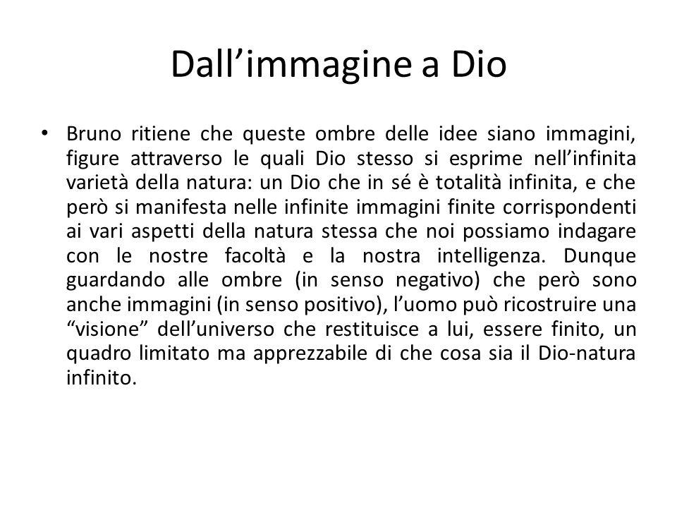 Dallimmagine a Dio Bruno ritiene che queste ombre delle idee siano immagini, figure attraverso le quali Dio stesso si esprime nellinfinita varietà del