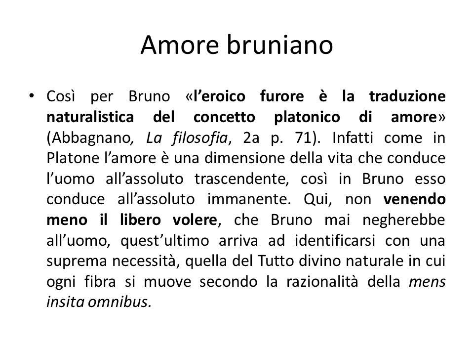 Amore bruniano Così per Bruno «leroico furore è la traduzione naturalistica del concetto platonico di amore» (Abbagnano, La filosofia, 2a p. 71). Infa
