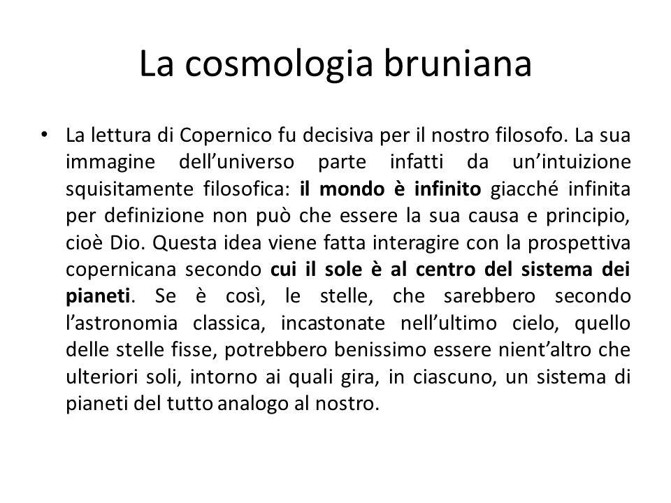 La cosmologia bruniana La lettura di Copernico fu decisiva per il nostro filosofo. La sua immagine delluniverso parte infatti da unintuizione squisita
