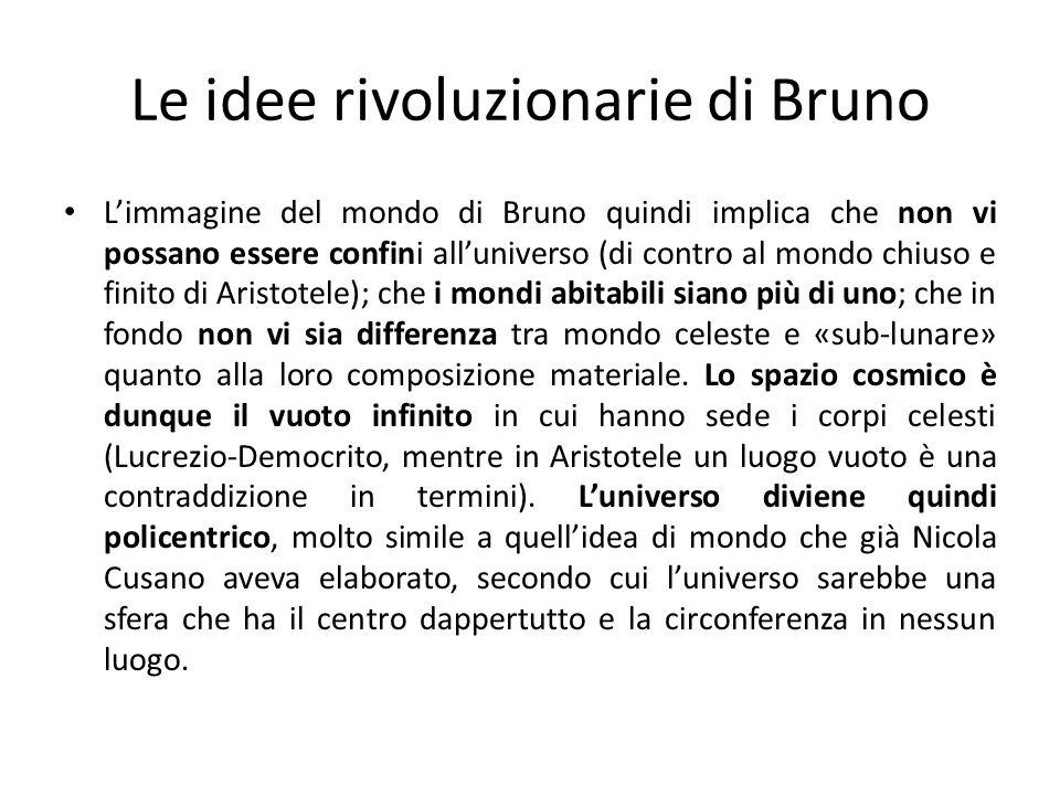 Le idee rivoluzionarie di Bruno Limmagine del mondo di Bruno quindi implica che non vi possano essere confini alluniverso (di contro al mondo chiuso e