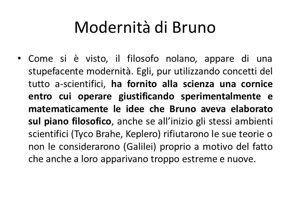 Modernità di Bruno Come si è visto, il filosofo nolano, appare di una stupefacente modernità. Egli, pur utilizzando concetti del tutto a-scientifici,