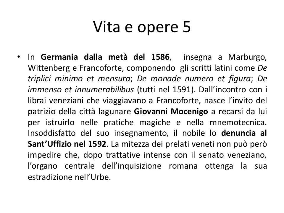 Vita e opere 5 In Germania dalla metà del 1586, insegna a Marburgo, Wittenberg e Francoforte, componendo gli scritti latini come De triplici minimo et