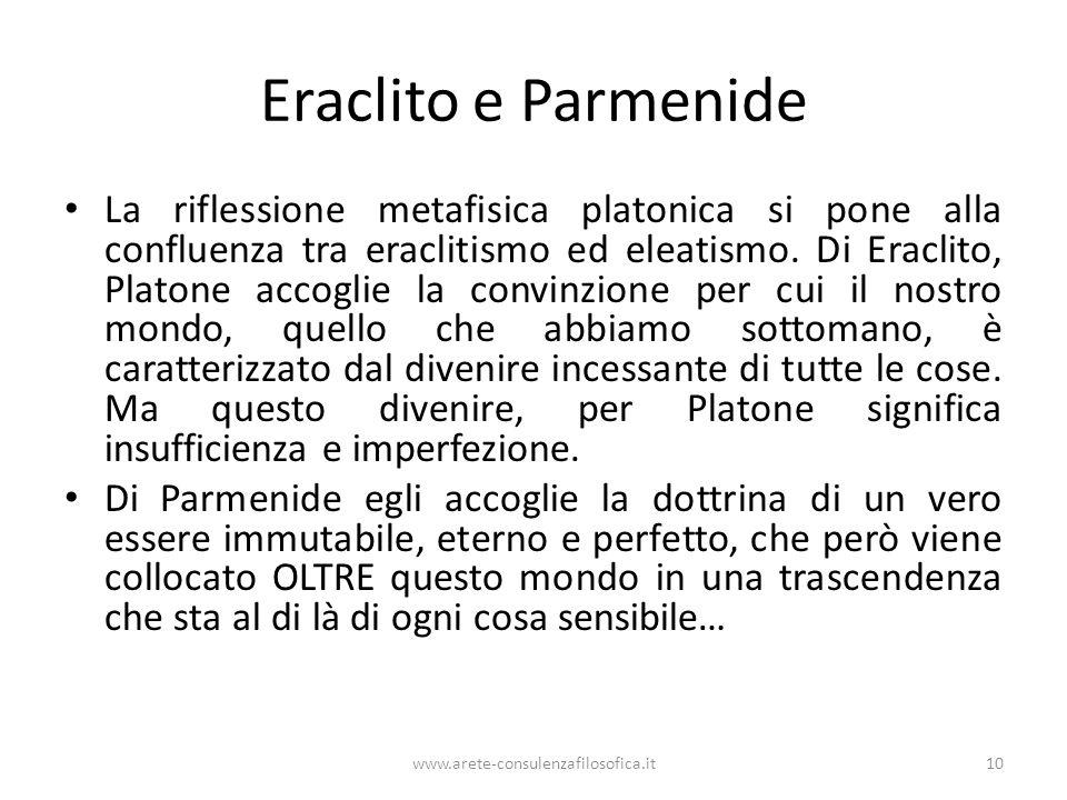 www.arete-consulenzafilosofica.it10 Eraclito e Parmenide La riflessione metafisica platonica si pone alla confluenza tra eraclitismo ed eleatismo. Di