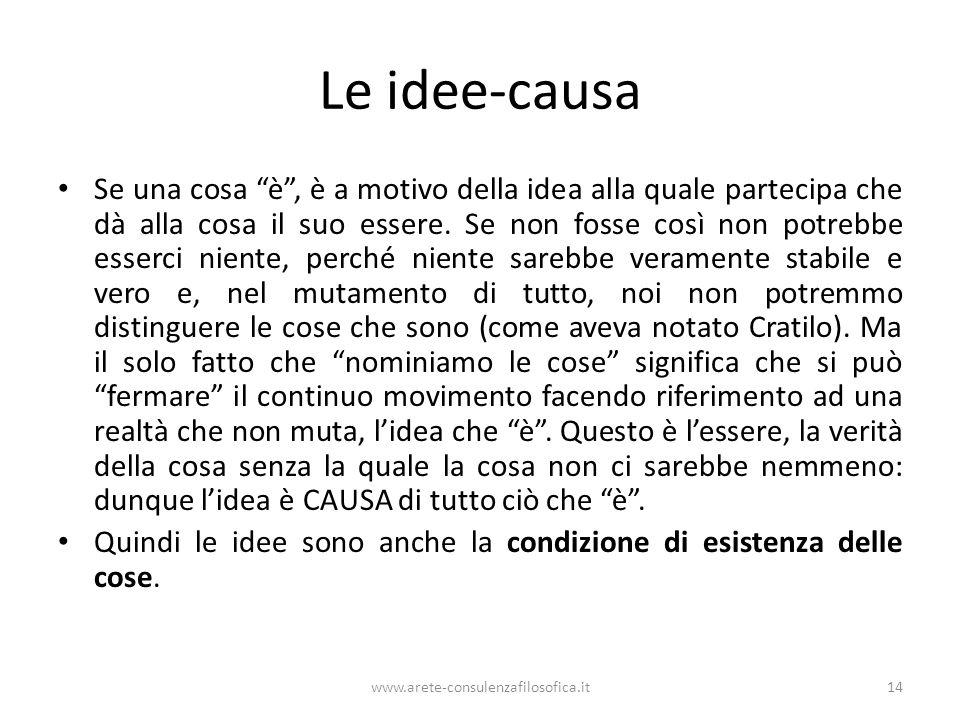 www.arete-consulenzafilosofica.it14 Le idee-causa Se una cosa è, è a motivo della idea alla quale partecipa che dà alla cosa il suo essere. Se non fos