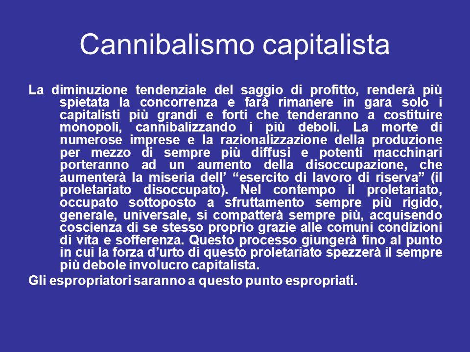 Cannibalismo capitalista La diminuzione tendenziale del saggio di profitto, renderà più spietata la concorrenza e farà rimanere in gara solo i capital