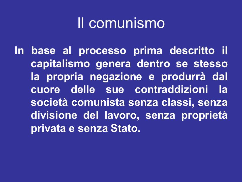 Il comunismo In base al processo prima descritto il capitalismo genera dentro se stesso la propria negazione e produrrà dal cuore delle sue contraddiz