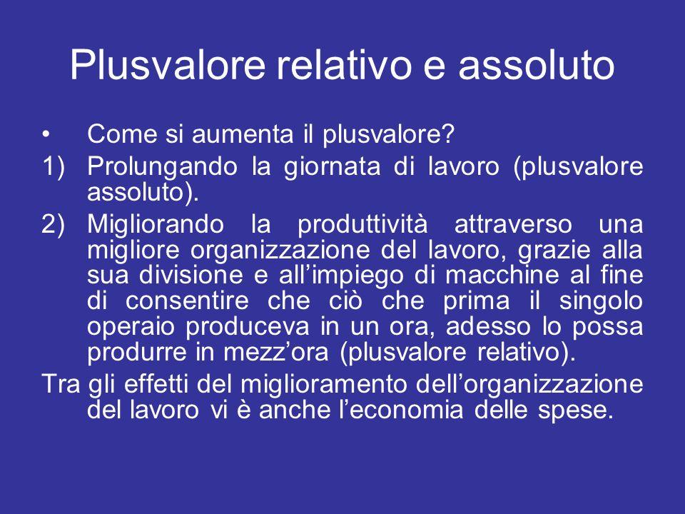 Plusvalore relativo e assoluto Come si aumenta il plusvalore? 1)Prolungando la giornata di lavoro (plusvalore assoluto). 2)Migliorando la produttività