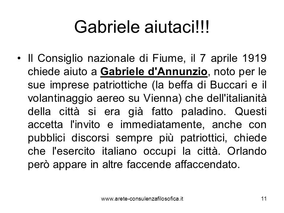 Gabriele aiutaci!!! Il Consiglio nazionale di Fiume, il 7 aprile 1919 chiede aiuto a Gabriele d'Annunzio, noto per le sue imprese patriottiche (la bef