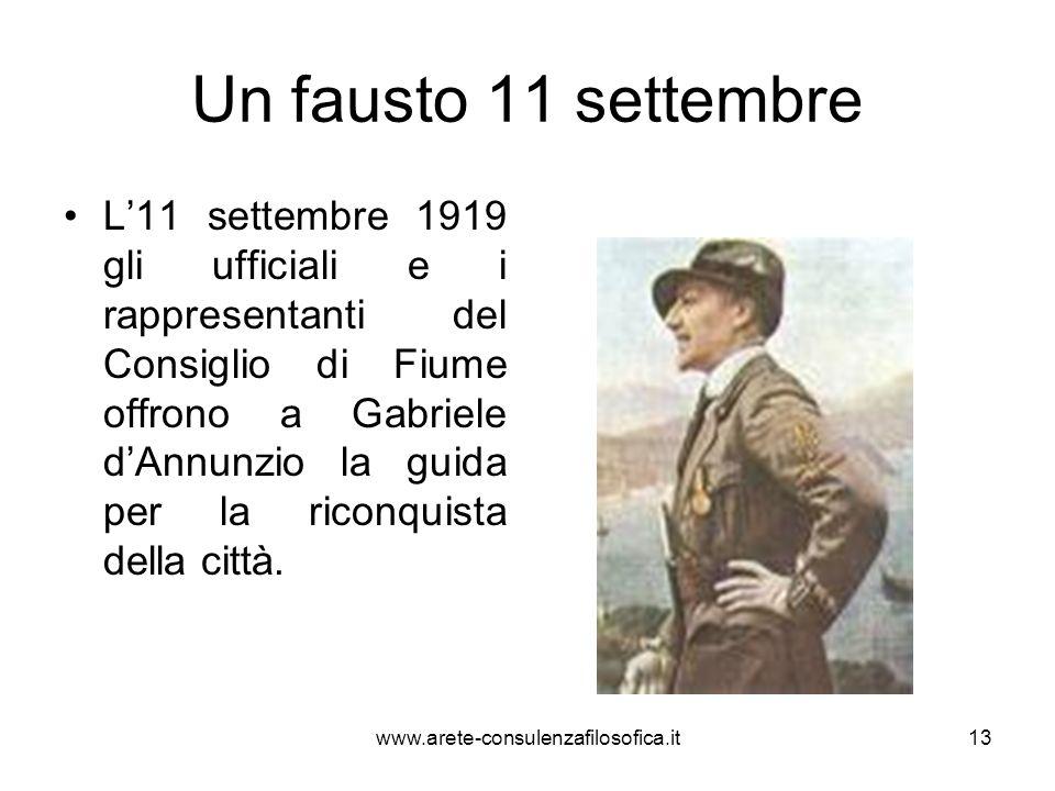 Un fausto 11 settembre L11 settembre 1919 gli ufficiali e i rappresentanti del Consiglio di Fiume offrono a Gabriele dAnnunzio la guida per la riconqu