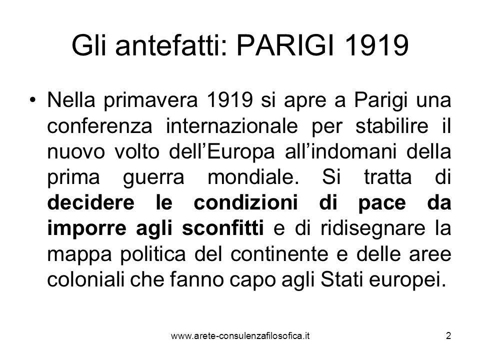 Gli antefatti: PARIGI 1919 Nella primavera 1919 si apre a Parigi una conferenza internazionale per stabilire il nuovo volto dellEuropa allindomani del