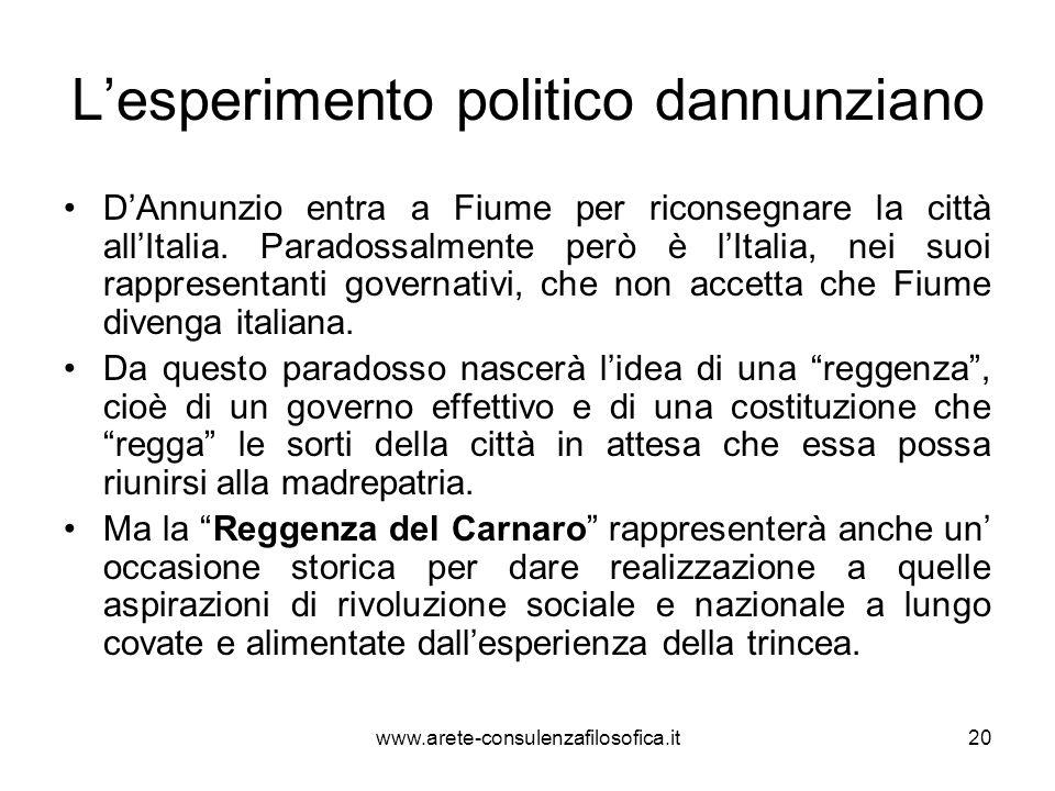 Lesperimento politico dannunziano DAnnunzio entra a Fiume per riconsegnare la città allItalia. Paradossalmente però è lItalia, nei suoi rappresentanti