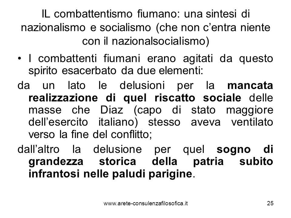 IL combattentismo fiumano: una sintesi di nazionalismo e socialismo (che non centra niente con il nazionalsocialismo) I combattenti fiumani erano agit
