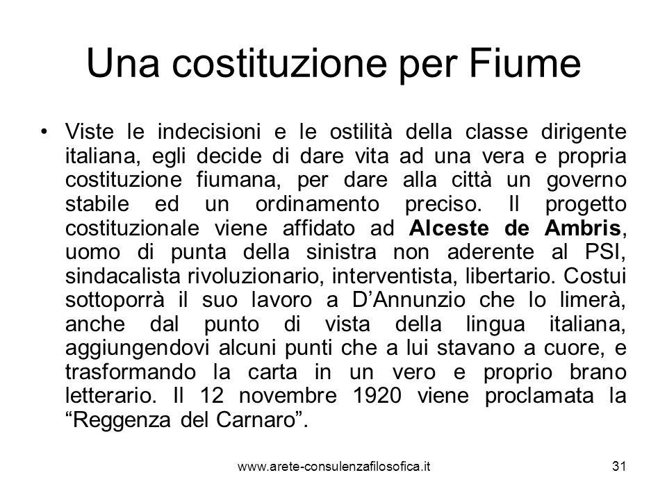 Una costituzione per Fiume Viste le indecisioni e le ostilità della classe dirigente italiana, egli decide di dare vita ad una vera e propria costituz