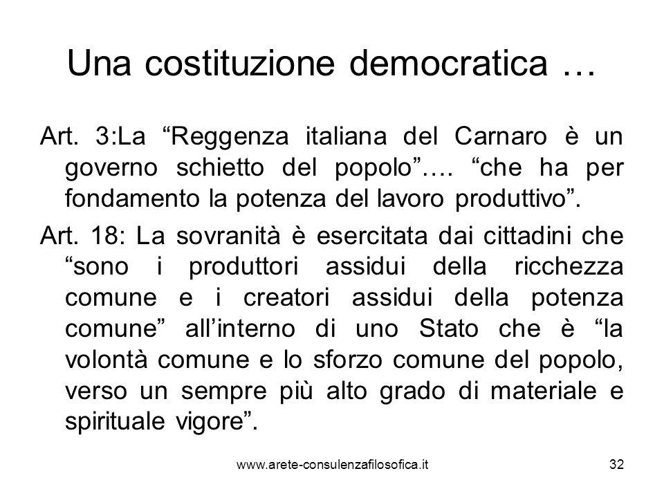 Una costituzione democratica … Art. 3:La Reggenza italiana del Carnaro è un governo schietto del popolo…. che ha per fondamento la potenza del lavoro