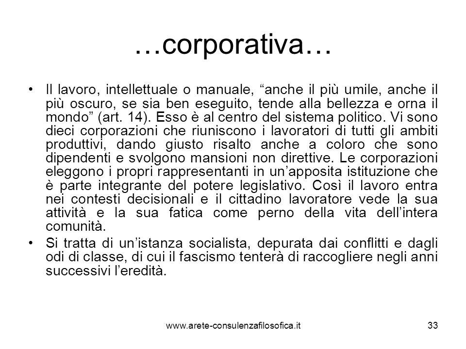 …corporativa… Il lavoro, intellettuale o manuale, anche il più umile, anche il più oscuro, se sia ben eseguito, tende alla bellezza e orna il mondo (a