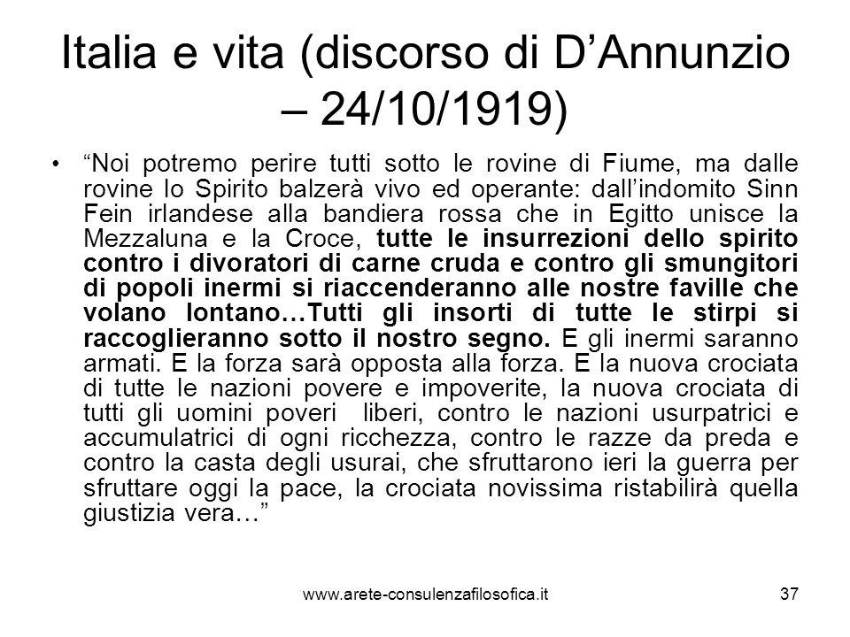 Italia e vita (discorso di DAnnunzio – 24/10/1919) Noi potremo perire tutti sotto le rovine di Fiume, ma dalle rovine lo Spirito balzerà vivo ed opera