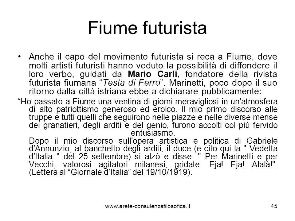 Fiume futurista Anche il capo del movimento futurista si reca a Fiume, dove molti artisti futuristi hanno veduto la possibilità di diffondere il loro