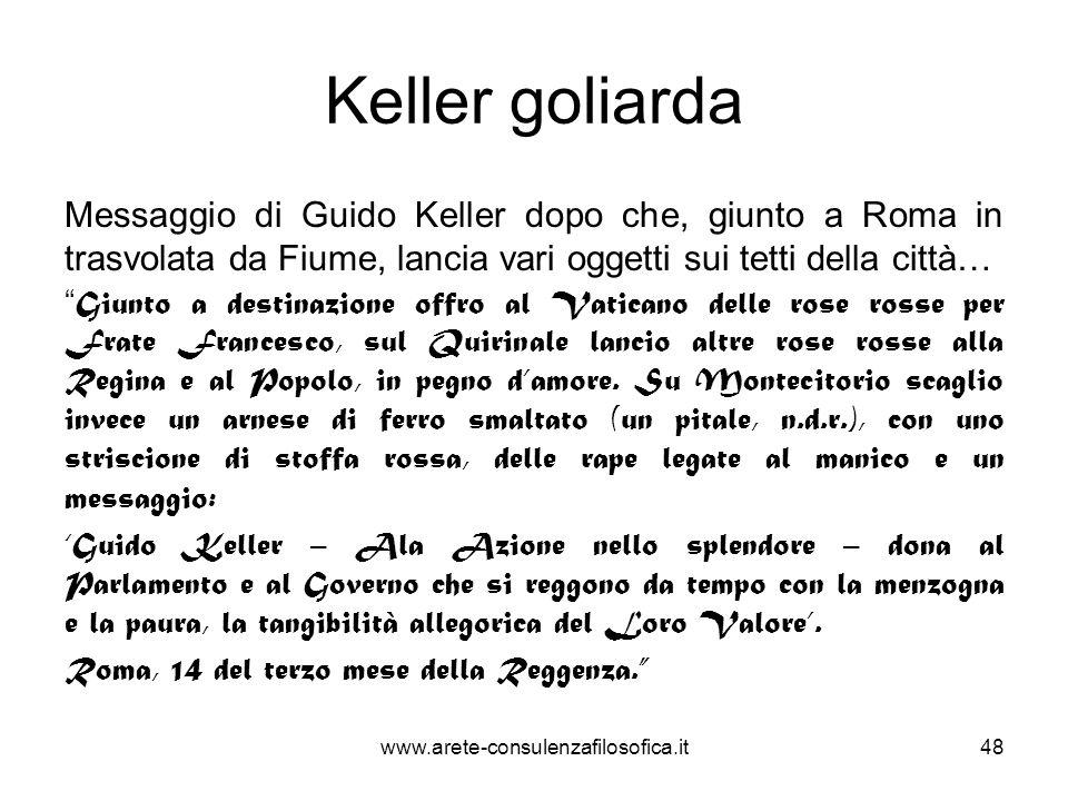 Keller goliarda Messaggio di Guido Keller dopo che, giunto a Roma in trasvolata da Fiume, lancia vari oggetti sui tetti della città… Giunto a destinaz