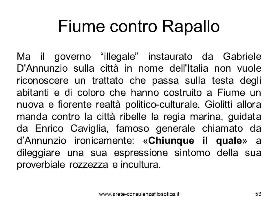 Fiume contro Rapallo Ma il governo illegale instaurato da Gabriele D'Annunzio sulla città in nome dell'Italia non vuole riconoscere un trattato che pa