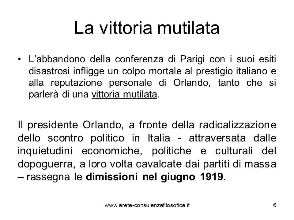 La vittoria mutilata Labbandono della conferenza di Parigi con i suoi esiti disastrosi infligge un colpo mortale al prestigio italiano e alla reputazi