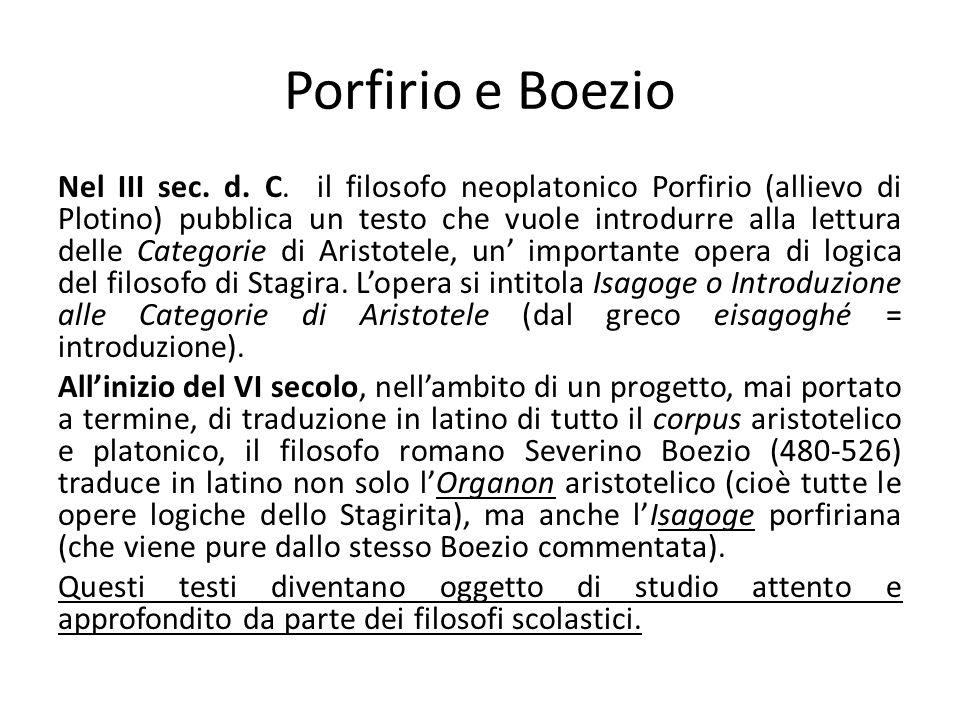 Porfirio e Boezio Nel III sec. d. C. il filosofo neoplatonico Porfirio (allievo di Plotino) pubblica un testo che vuole introdurre alla lettura delle