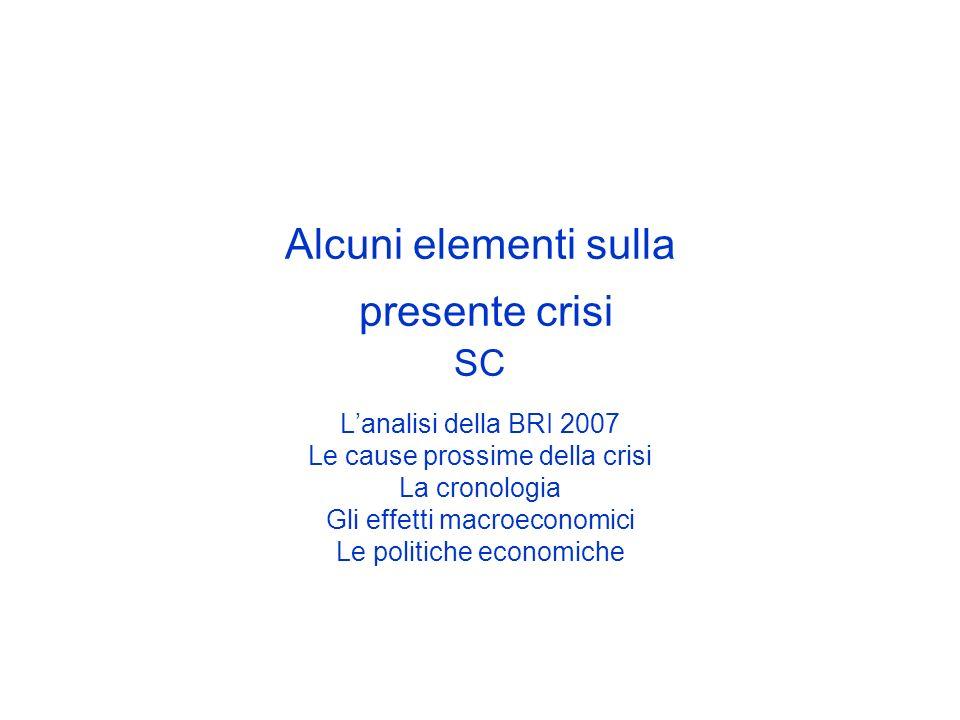 Alcuni elementi sulla presente crisi SC Lanalisi della BRI 2007 Le cause prossime della crisi La cronologia Gli effetti macroeconomici Le politiche ec