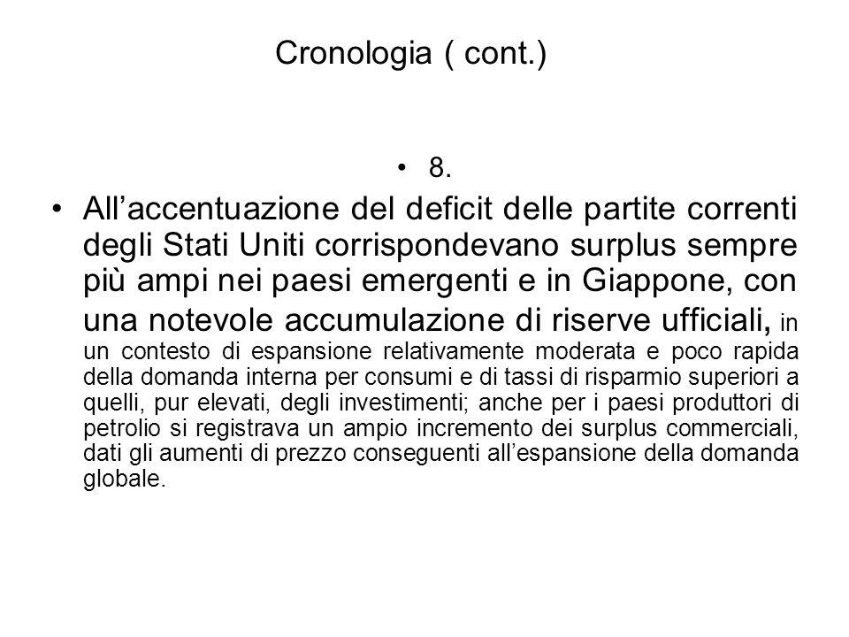 Cronologia ( cont.) 8. Allaccentuazione del deficit delle partite correnti degli Stati Uniti corrispondevano surplus sempre più ampi nei paesi emergen