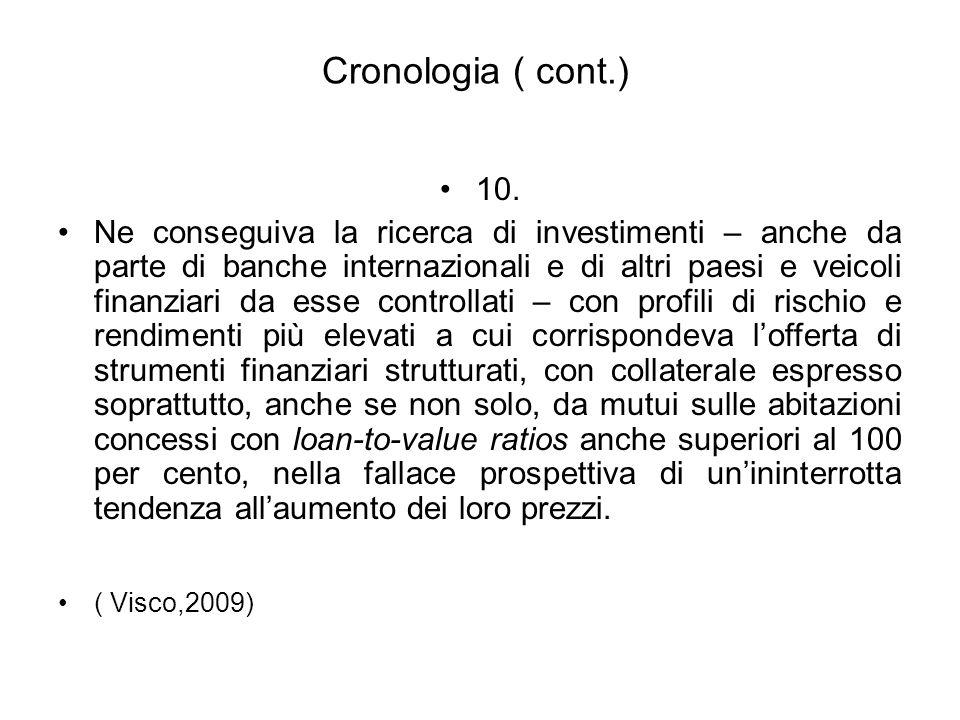 Cronologia ( cont.) 10. Ne conseguiva la ricerca di investimenti – anche da parte di banche internazionali e di altri paesi e veicoli finanziari da es