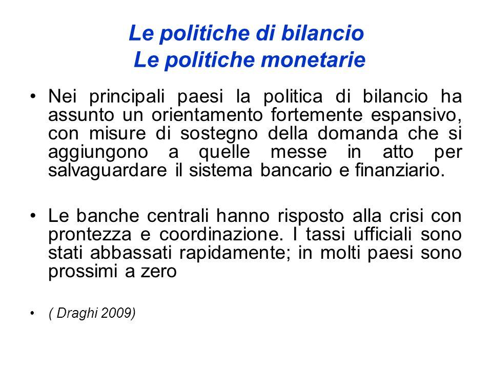 Le politiche di bilancio Le politiche monetarie Nei principali paesi la politica di bilancio ha assunto un orientamento fortemente espansivo, con misu