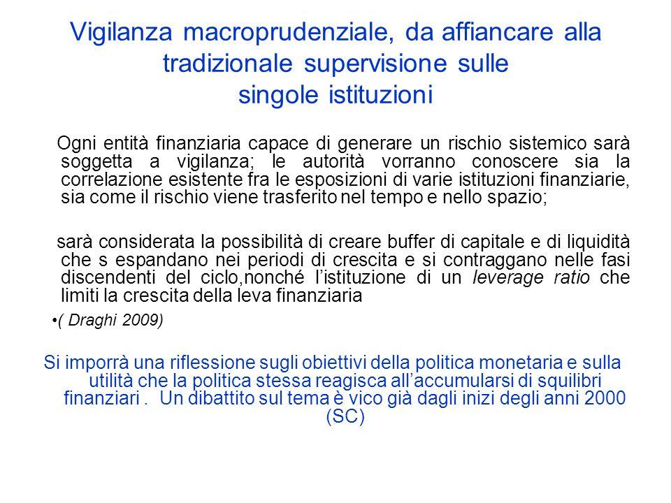 Vigilanza macroprudenziale, da affiancare alla tradizionale supervisione sulle singole istituzioni Ogni entità finanziaria capace di generare un risch