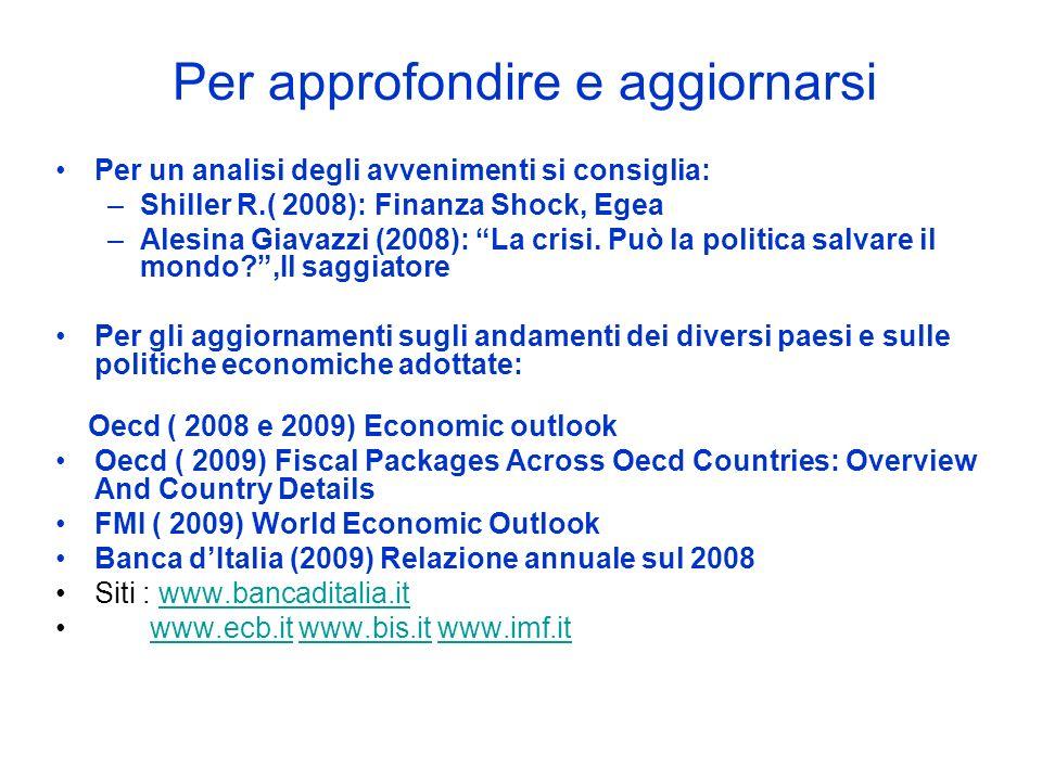 Per approfondire e aggiornarsi Per un analisi degli avvenimenti si consiglia: –Shiller R.( 2008): Finanza Shock, Egea –Alesina Giavazzi (2008): La cri