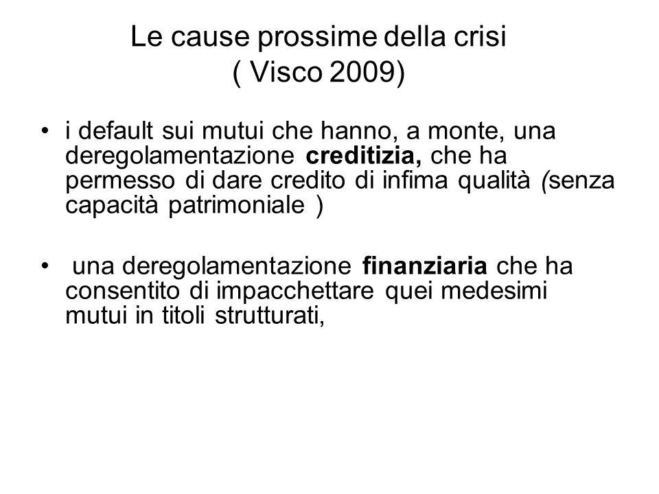 Le cause prossime della crisi ( Visco 2009) i default sui mutui che hanno, a monte, una deregolamentazione creditizia, che ha permesso di dare credito