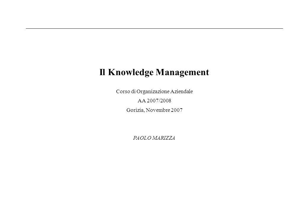 Il Knowledge Management Corso di Organizazione Aziendale AA 2007/2008 Gorizia, Novembre 2007 PAOLO MARIZZA