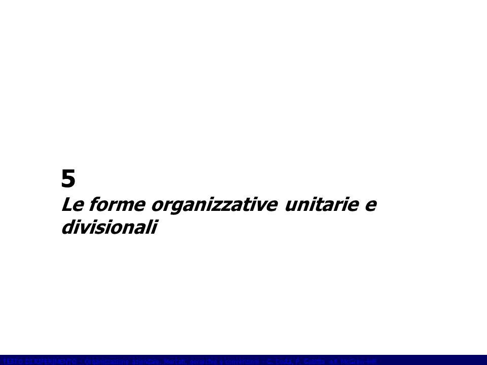TESTO DI RIFERIMENTO - Organizzazione aziendale. Mercati, gerarchie e convenzioni - G. Costa, P. Gubitta ed. McGraw-Hill 5 Le forme organizzative unit