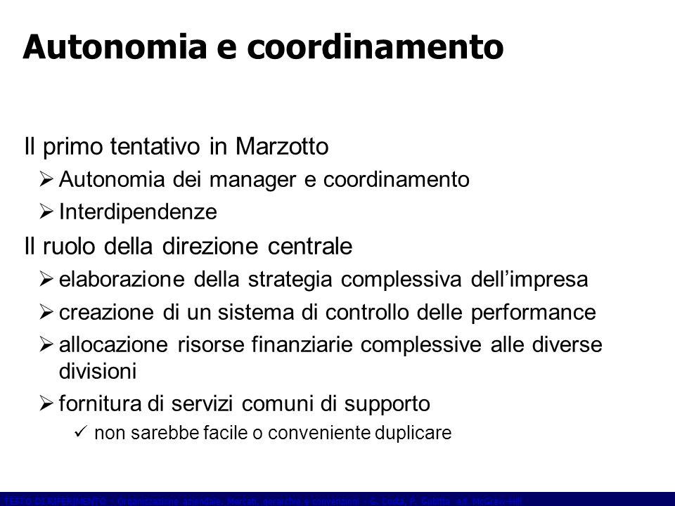 TESTO DI RIFERIMENTO - Organizzazione aziendale. Mercati, gerarchie e convenzioni - G. Costa, P. Gubitta ed. McGraw-Hill Autonomia e coordinamento Il