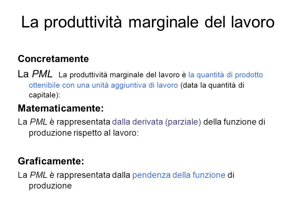 La produttività marginale del lavoro Concretamente La PML La produttività marginale del lavoro è la quantità di prodotto ottenibile con una unità aggi