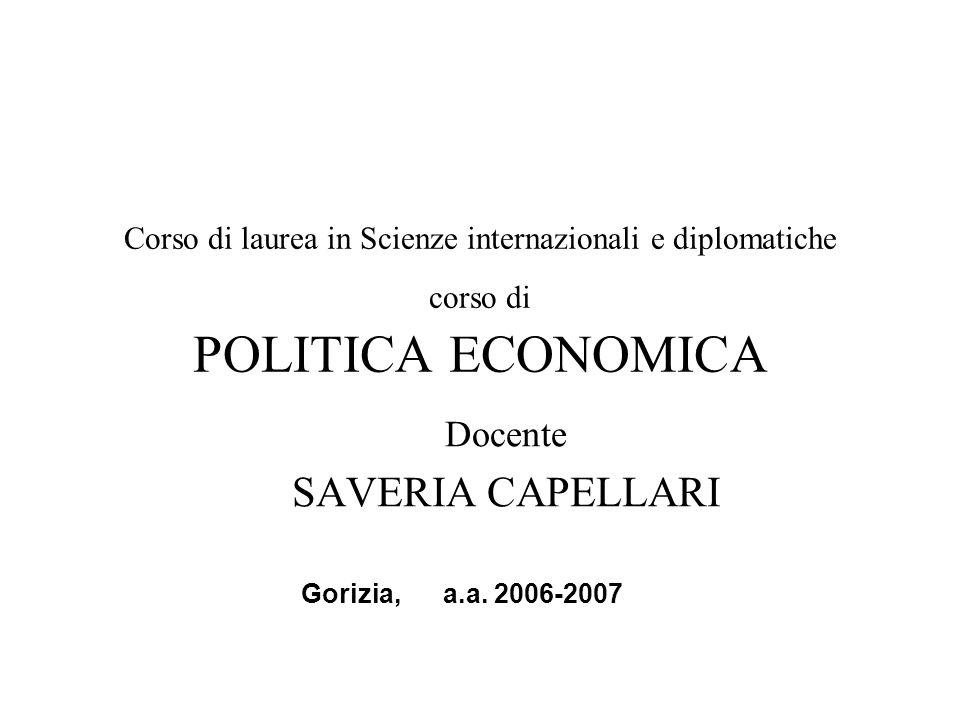 Corso di laurea in Scienze internazionali e diplomatiche corso di POLITICA ECONOMICA Docente SAVERIA CAPELLARI Gorizia, a.a.