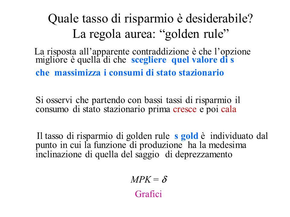 Quale tasso di risparmio è desiderabile? La regola aurea: golden rule La risposta allapparente contraddizione è che lopzione migliore è quella di che