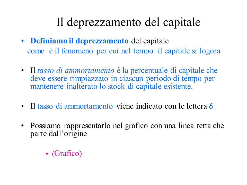 Il deprezzamento del capitale Definiamo il deprezzamento del capitale come è il fenomeno per cui nel tempo il capitale si logora Il tasso di ammortamento è la percentuale di capitale che deve essere rimpiazzato in ciascun periodo di tempo per mantenere inalterato lo stock di capitale esistente.