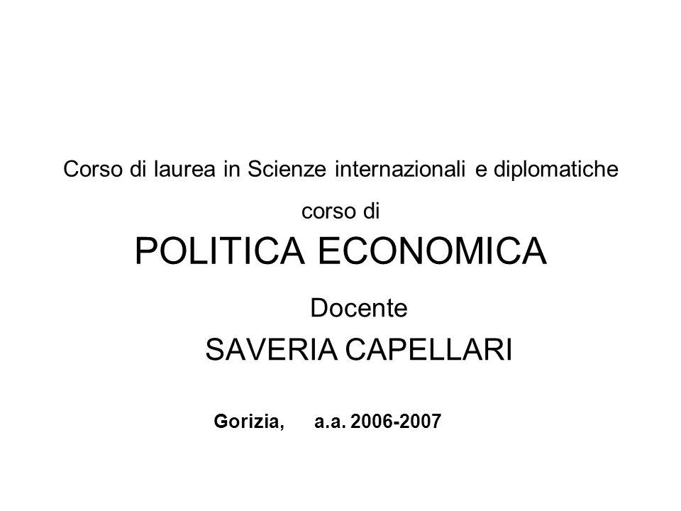 Corso di laurea in Scienze internazionali e diplomatiche corso di POLITICA ECONOMICA Docente SAVERIA CAPELLARI Gorizia, a.a. 2006-2007