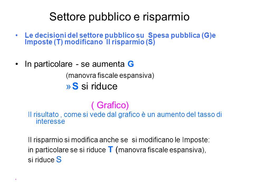 Settore pubblico e risparmio Le decisioni del settore pubblico su Spesa pubblica (G)e Imposte (T) modificano Il risparmio (S) In particolare - se aume