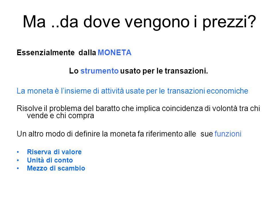 Ma..da dove vengono i prezzi. Essenzialmente dalla MONETA Lo strumento usato per le transazioni.