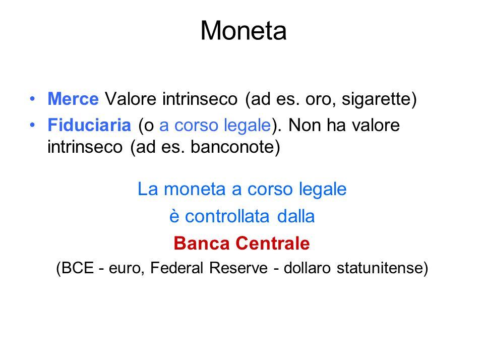 Moneta Merce Valore intrinseco (ad es. oro, sigarette) Fiduciaria (o a corso legale). Non ha valore intrinseco (ad es. banconote) La moneta a corso le