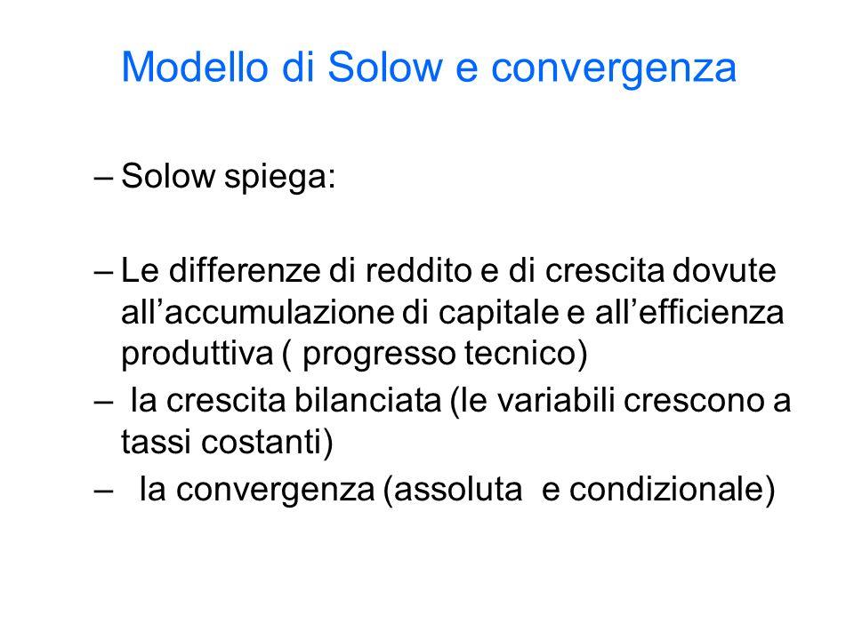 Modello di Solow e convergenza –Solow spiega: –Le differenze di reddito e di crescita dovute allaccumulazione di capitale e allefficienza produttiva ( progresso tecnico) – la crescita bilanciata (le variabili crescono a tassi costanti) – la convergenza (assoluta e condizionale)