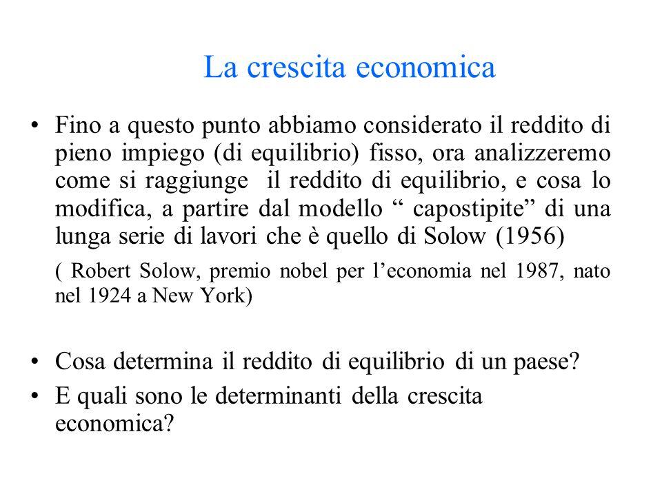 La crescita economica Fino a questo punto abbiamo considerato il reddito di pieno impiego (di equilibrio) fisso, ora analizzeremo come si raggiunge il reddito di equilibrio, e cosa lo modifica, a partire dal modello capostipite di una lunga serie di lavori che è quello di Solow (1956) ( Robert Solow, premio nobel per leconomia nel 1987, nato nel 1924 a New York) Cosa determina il reddito di equilibrio di un paese.