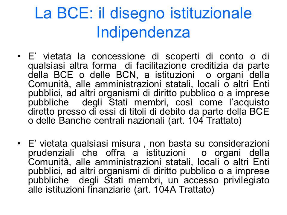 La BCE: il disegno istituzionale Indipendenza E vietata la concessione di scoperti di conto o di qualsiasi altra forma di facilitazione creditizia da parte della BCE o delle BCN, a istituzioni o organi della Comunità, alle amministrazioni statali, locali o altri Enti pubblici, ad altri organismi di diritto pubblico o a imprese pubbliche degli Stati membri, così come lacquisto diretto presso di essi di titoli di debito da parte della BCE o delle Banche centrali nazionali (art.